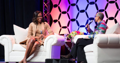 Former First Lady Michelle Obama participates in conversation at Bankers Life Fieldhouse