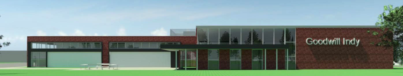 Rendering of new facility for Goodwill and Cook Medical development at 38th and Sheridan